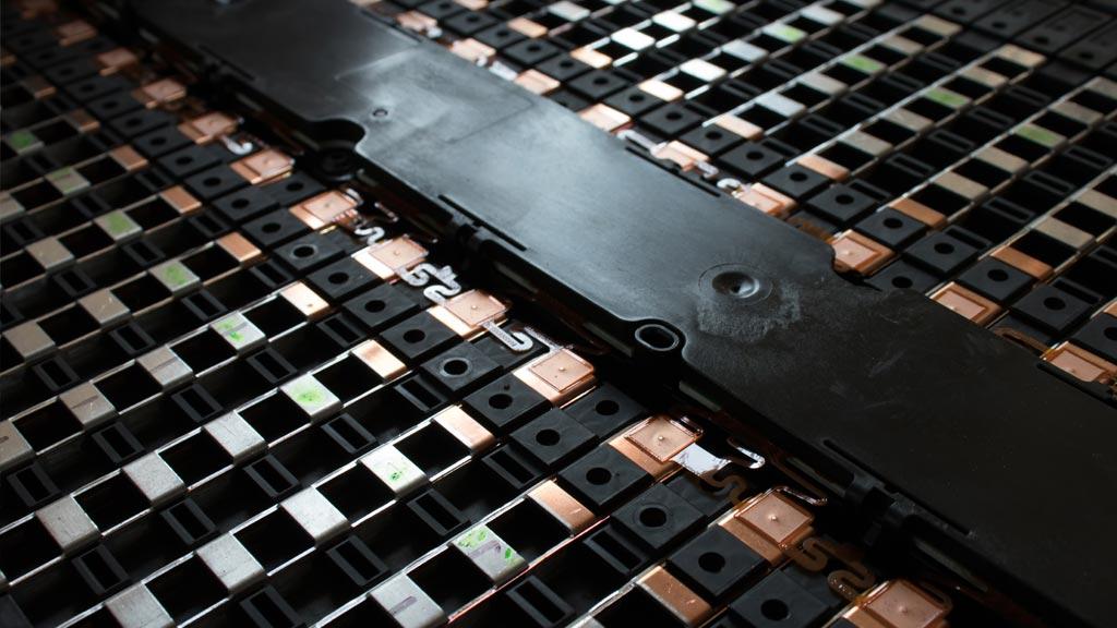 A close up of an EV Battery
