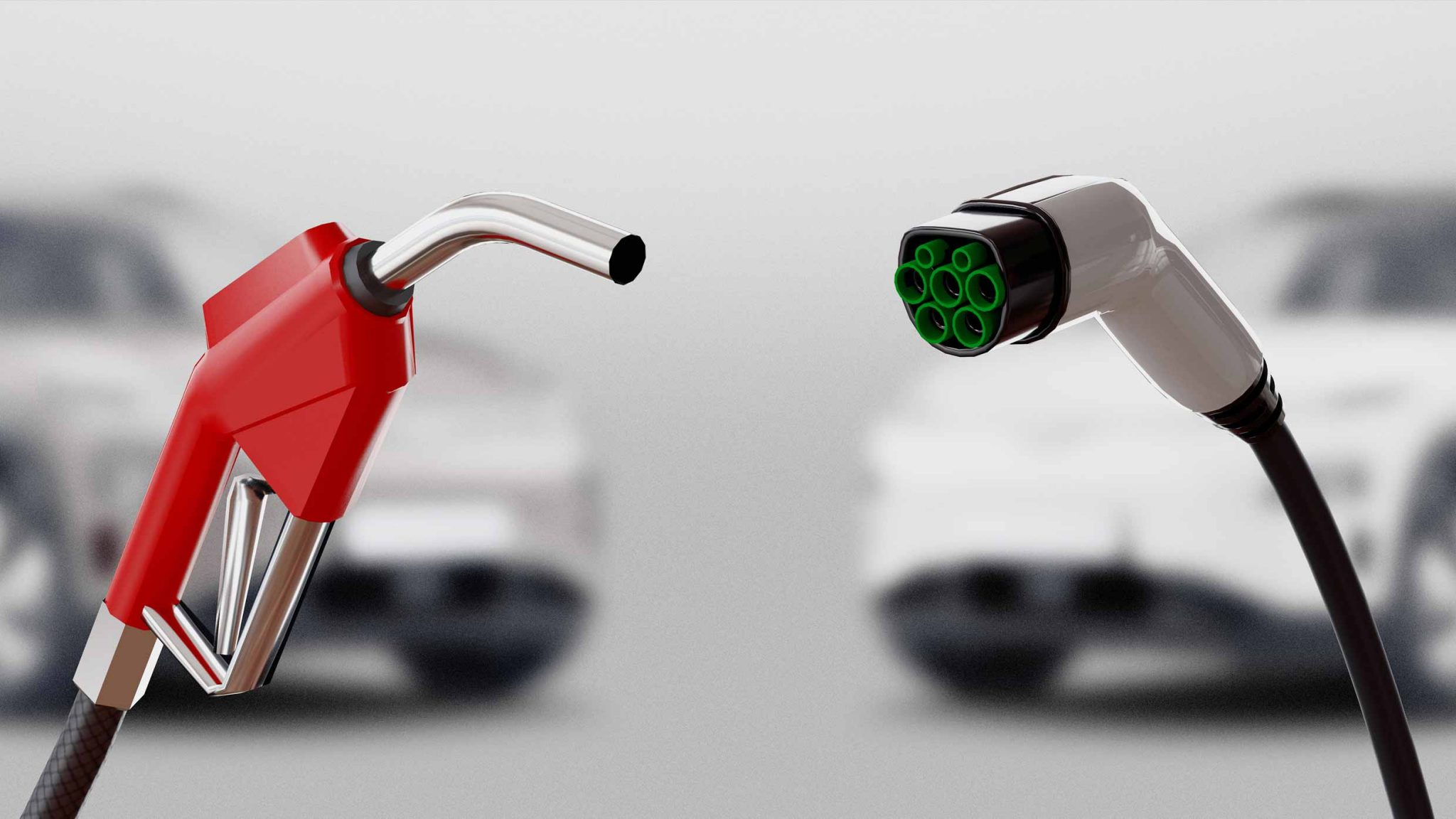 Petrol pump nozzel and plug to charge EV