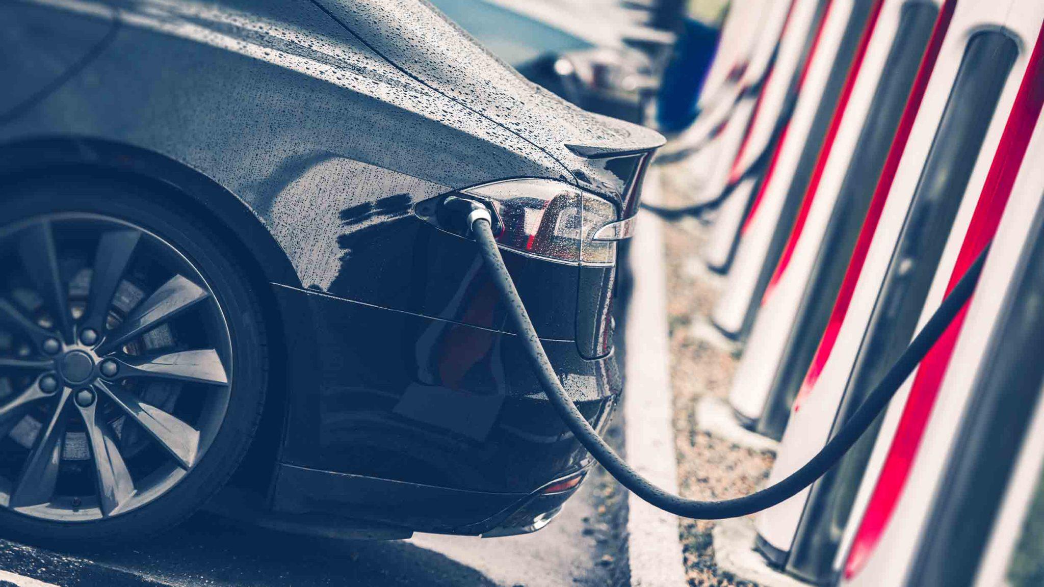 Close up of Tesla public charging station