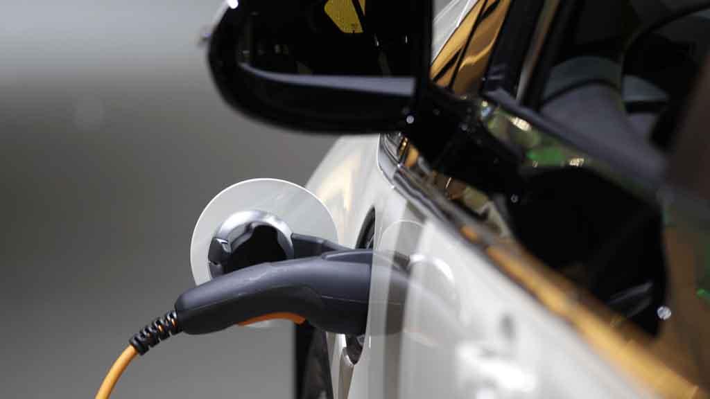 Closeup of Electric Car charging