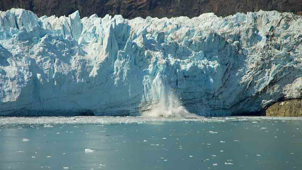 Iceberg showing aa section that has fallen into the water below