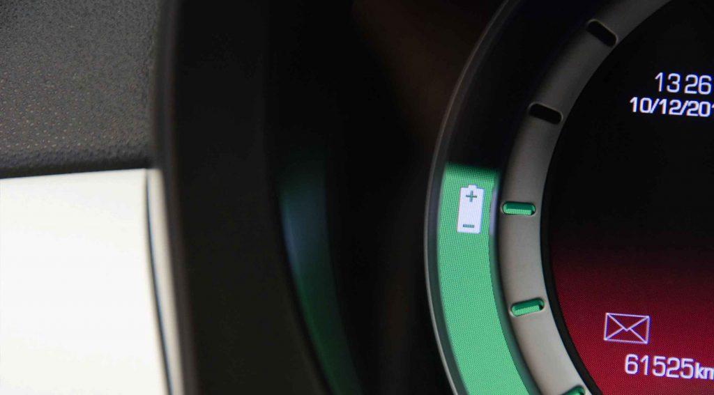 EV Dashboard Display Showing Charge Meter